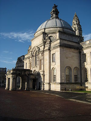 City Hall, Cardiff - City Hall, main entrance portico with clock tower in background