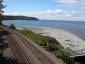 Carkeek Park - Carkeek Park beach beyond the BNSF tracks. Esplanade NW in the distance
