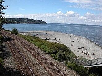 Carkeek Park - Carkeek Park beach beyond the BNSF tracks. Esplanade NW in the distance