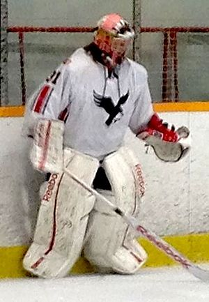 Carleton Ravens - Carleton goaltender Francis Dupuis during 2013-14 season vs. Windsor Lancers.