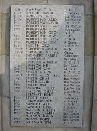 Bertie Snowball - The Carnoustie War Memorial