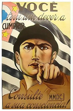 Poster MMDC calling the Paulista people to arms during the Constitutionalist Revolution, in 1932. Cartaz Revolucionario.jpg