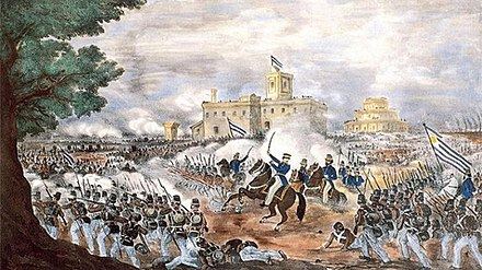 The victory of the Ejercito Grande at the Battle of Caseros resulted in the overthrow of Juan Manuel de Rosas. Caseros.jpg