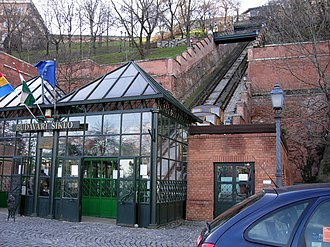 Budapest Castle Hill Funicular - View from the front of the funicular