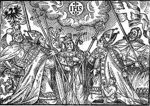 Patron saints of Poland - A 17th-century woodcut of five historical Polish patron saints venerating the Christogram; left to right: Wenceslaus, Adalbert, Casimir, Stanislaus, and Florian