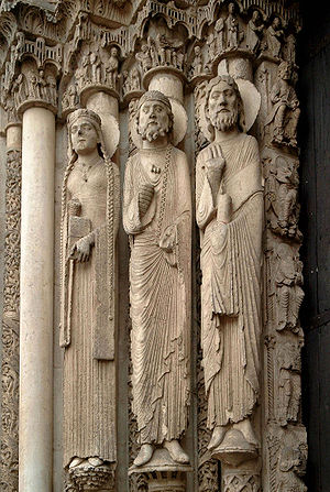 Gothic art - The Western (Royal) Portal at Chartres Cathedral (ca. 1145)-these architectural statues are the earliest Gothic sculptures and were a revolution in style and the model for a generation of sculptors.