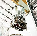 Centaur G Prime arrives at the Shuttle Payload Integration Facility at the Kennedy Space Center.jpg