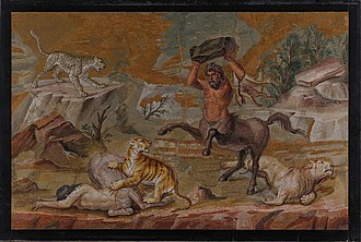 "Centaur - ""Battle of Centaurs and Wild Beasts"" was made for the dining room of Hadrian's Villa and estimated to be made between 120-130 A.D. The mosaic now resides in the Staatliche Museen zu Berlin in Germany."