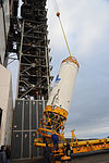 Centaur uperstage lifted ontop of the interstage oif an Atlas V (401).jpg
