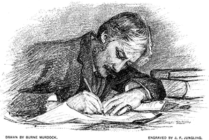 Engraving of Andrew Lang at Work