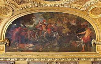 Grand appartement du roi - Image: Château de Versailles, salon de Diane, Cyrus chassant le sanglier, Claude Audran II