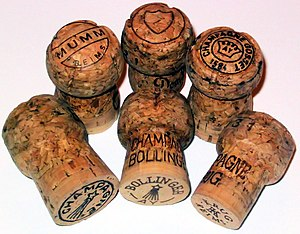 Champagne corks, showing various Champagne house insignias and effects of bottle ageing to their shape.