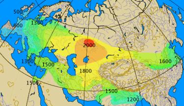 Mapa histórico aproximado de la expansión del uso del carro de guerra, (2000-500 a. C.).