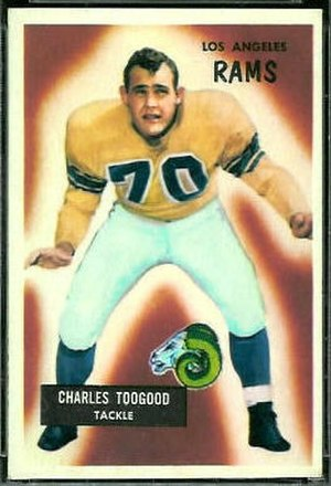 Charlie Toogood - Toogood on a 1955 Bowman football card