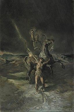 Chassériau - Empereur romain à cheval et son esclave frappé par la foudre