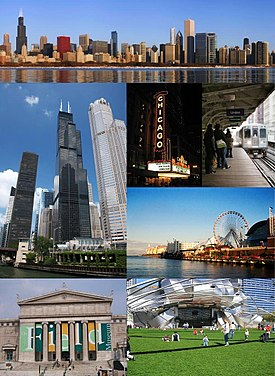 U smjeru kazaljke na satu od vrha: Downtown Chicago, Chicago Theatre, Chicago 'L', Navy Pier, Millennium Park, Field Museum i Willis (prethodno Sears) Tower