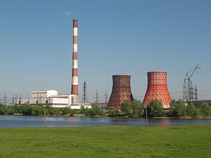 Chimney and two hiperboloide cooling towers on Kharkov.JPG