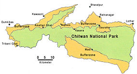 Map showing the location of Chitwan National Park