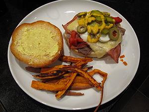Chivito (sandwich) - Ingredients in a Chivito sandwich