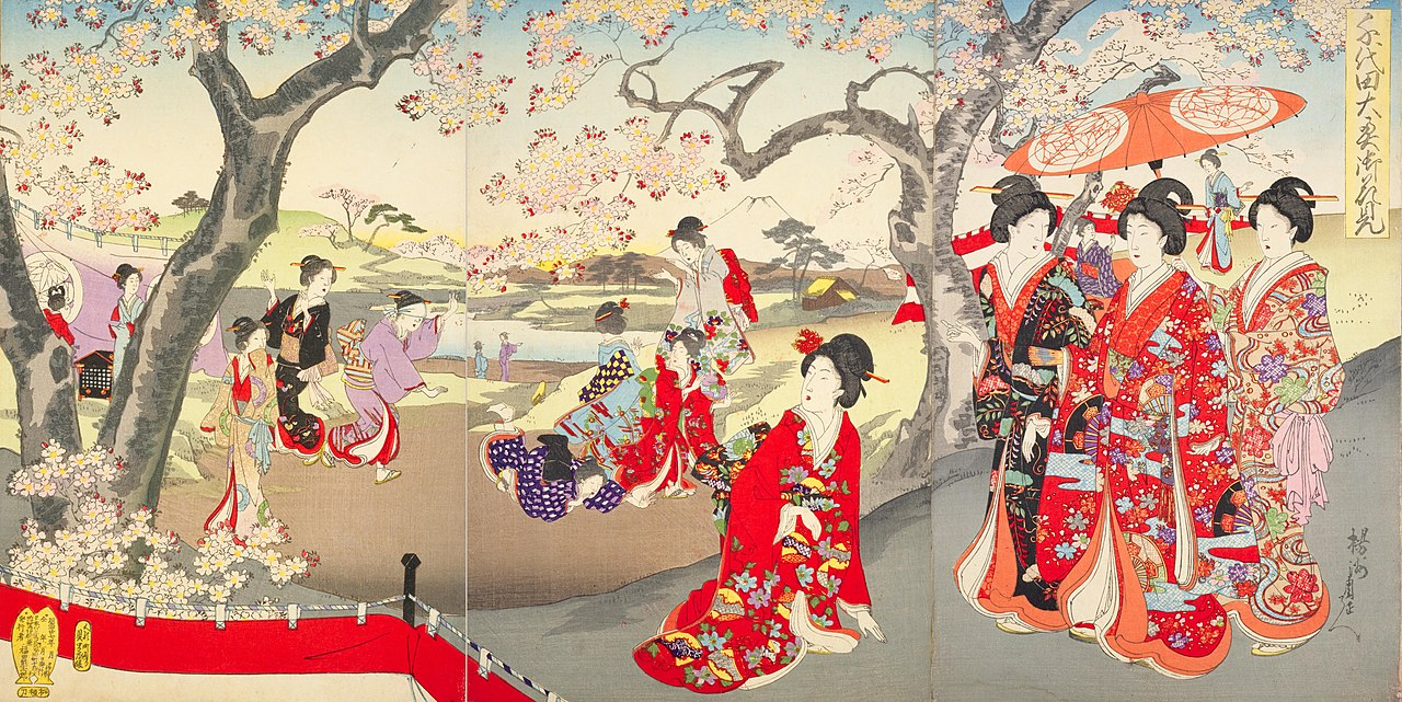 Ladies in the Edo palace enjoying cherry blossoms, Toyohara Chikanobu (1894)