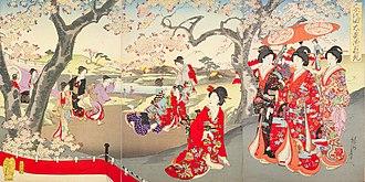 Ōoku - Women of the Ōoku enjoy cherry blossoms at a hanami. Moku-hanga in the ukiyo-e style (by Toyohara Chikanobu, 1894)