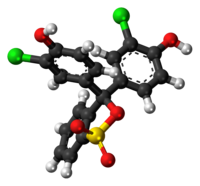 Ball-and-stick model of the chlorophenol red molecule in cyclic form
