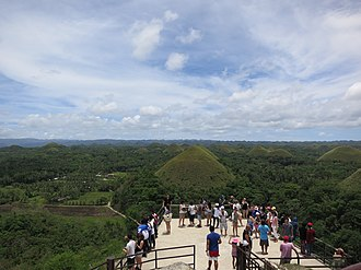 Chocolate Hills - Tourists in Chocolate Hills.