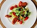 Chorizo, roasted capsicum, tomatoes, hard boiled eggs and rocket salad.jpg
