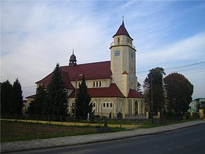 Cisek - The village's Neo-Gothic parish church, Visitation of the Blessed Virgin Mary, built in 1927