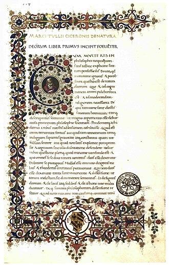 De Natura Deorum - 15th-century manuscript, Vatican