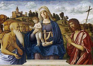Madonna with child, Saint Jerome, and Saint John the Baptist