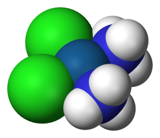 Square planar molecular geometry - Structure of cisplatin, an example of a molecule with the square planar coordination geometry.