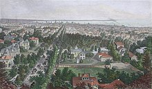 Aerial engraving of a 19th-century city with trees and homes