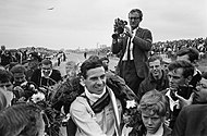 Jim Clark celebrating his win
