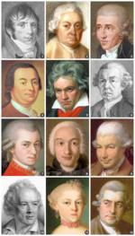 Mosaico con algunos de los compositores clásicos más representativos.
