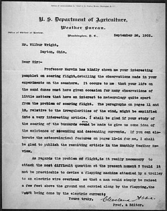"Cleveland Abbe - Cleveland Abbe letter to Wilbur Wright inviting publication of an article on ""soaring flight"" in the Monthly Weather Review"