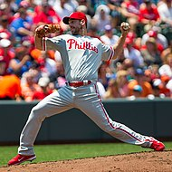 Photograph of Cliff Lee, Phillies' pitcher from 2009, 2011 to 2014 throwing a pitch