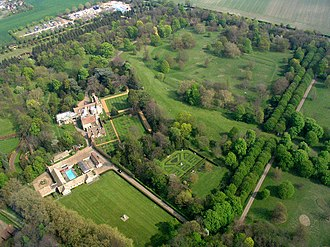Anglesey Abbey - Aerial view of the house and gardens