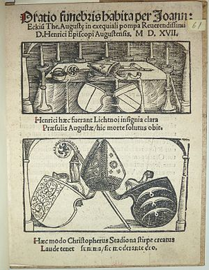 "Christoph von Stadion - Wood engraving from 1517 with the coat of arms of both Augsburg bishops Heinrich von Lichtenau (ca. 1445-1517) and Christoph von Stadion (1478-1543). Each on the left side (in genealogical terms ""right"") Bisphopric Augsburg and on the right side (in genealogical terms ""left"") the paternal coat of arms"