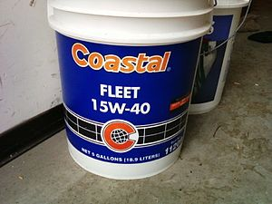 Coastal Corporation - A five-gallon bucket of Coastal brand motor oil