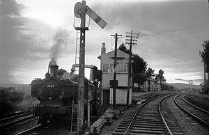 Coelbren, Powys - A Neath-Brecon train at Coelbren Junction shortly before closure in December 1962