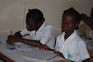 Education in Ivory Coast - Children in a classroom in Abidjan