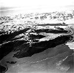 Columbia Glacier, Calving Terminus with Oblique View of Valley Glacier, Terentiev Lake, July 15, 1977 (GLACIERS 1295).jpg
