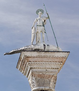 Theodore the Martyr - Statue of St Theodore on western column in Piazzetta in Venice