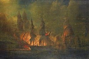 French frigate Sirène (1795) - Image: Combat de la frégate française La Sirene contre une division anglaise
