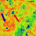 Comparison STM topographic image of a section of graphene sheet with spectroscopy images of electron interference.jpg