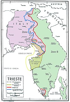 Colour-coded map of Trieste