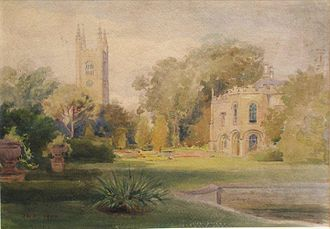 Norman Heathcote - Watercolour by Heathcote of the grounds of Conington Castle, 1900