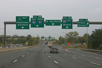 Connecticut Route 2 - Route 2 westbound in Hartford, just before exits 2E, 2W and 3.