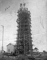 La construction du phare de Pointe-au-Père en 1909